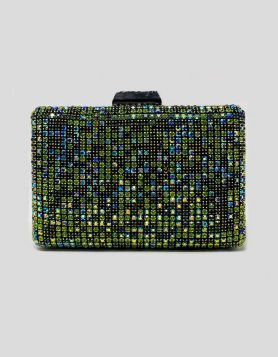 Green Rhinestone jewel box evening clutch with gunmetal-tone hardware.