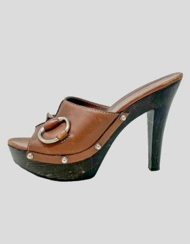 Gucci Horsebit Accent Leather Mules - 37.5 IT