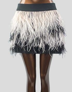 Club Monaco black and white Ostrich Feather Miniskirt. Polyester shell with ostrich feather trim throughout. Back zip closure. Size: 4 US