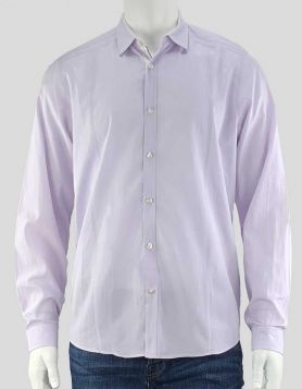 BOSS by Hugo Boss men's pin-striped lavender and white button-down shirt with white trim on placket and at cuffs Size: Large