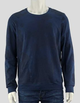 BOSS by Hugo Boss men's dark blue long sleeve crewneck light sweatshirt with design detail on sleeves Size: Large