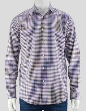 BOSS by Hugo Boss men's blue, brown and white checked button-down shirt with collar with room for stays. Size: 16/41