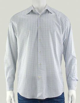 BOSS by Hugo Boss men's checkerboard button-down shirt in olive, blue and white Size: 16-32/33