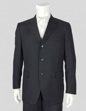 Lanvin light-weight wool, three-button front navy blazer with four-button detail at cuffs and double back vent  Size 42 R US