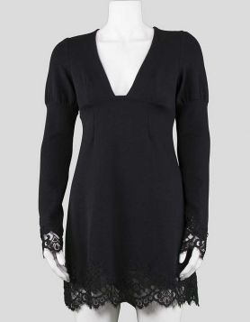Ingwa;Melero deep-v, long sleeve, to-the-knee, mini dress with lace at cuffs and hem.  Small