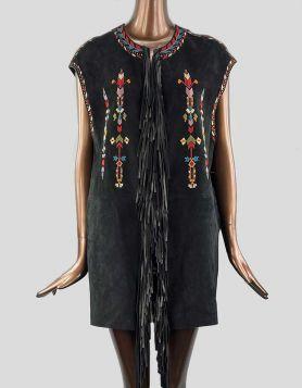 Isabel Marant Black Martin Fringed Embroidered Suede Vest. Open style.36 FR