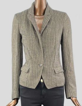 Étoile Isabel Marant brown and tan patterned wool blazer. Pointed collar. One-button closure and threefront pockets. Size: 1