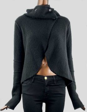 James Perse black cashmere open-front sweater with mock neck four-button overlay closure. Hi-Low style with long sleeves. Size 1