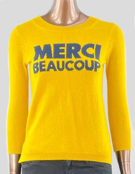 J. Crew Merci Beaucoup Cashmere Sweater in yellow. Crewneck and long sleeve. Size XXS