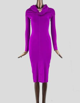 Jean Paul Gaultier Soliel Knee Length Dress. Sheer Mesh Shift Dress in magenta with mesh accents. Long sleeve with mock neck.