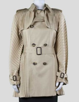 Jean Paul Gaultier women's belted trench coat with button front, tie with leather-covered buckles, and pleating throughout