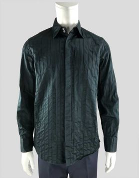 Jil Sander men's formal long-sleeve button-down placket shirt with rib design throughout Size: 41/17