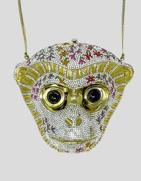 Judith Leiber multicolor Swarovski crystal Monkey minaudière bag
