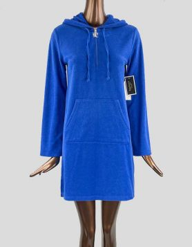 Juicy Couture Black Label Micro Terry Hooded Dress in electric blue terry cloth fabric. Long sleeves with kangaroo pocket in front  Size: X-Small