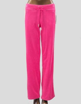 Juicy Couture bubble gum pink velour track pants with double white side stripes. Two front slanted zip pockets. Size: Small