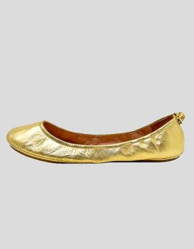 Kate Spade New York leather ballet flats in gold with round toes Size 9 US