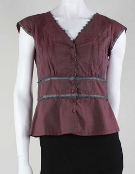 Katayone Adeli capped sleeve, button-down, v-neck top with grey edged design.
