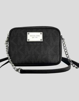KORS Michael Kors Jet Set Black MK Signature Cross Body Bag with silver-tone logo placard on front