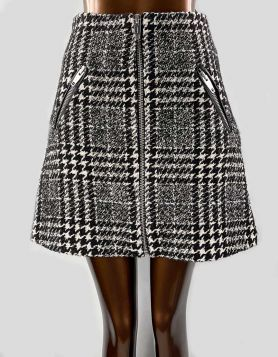 The Kooples black and white tweed mini skirt with exposed front zipper 2 US
