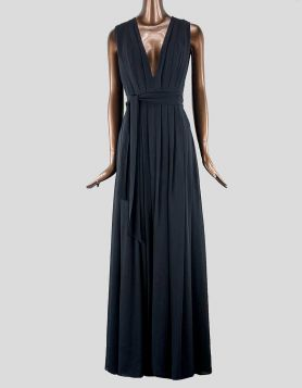 L'Agence Plunge Neckline Long Dress. Sleeveless with side quilting detail at bust, pleating accent throughout. High front slit.