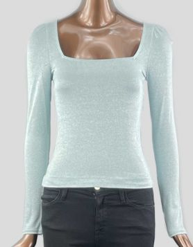 & Other Stories metallic puff sleeve square neck top, with long sleeves, in ice blue. Size 4 US