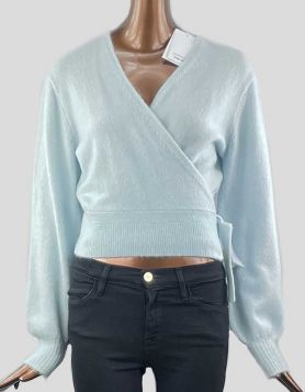 & Other Stories Long sleeve soft knit wrap cardigan with a long ribbed hemline Size: X-Small