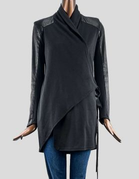 LaMarque Collection black wrap coat with black leather trim on shoulders and sleeves. Oversized collar.