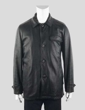 Lanvin men's black winter weight leather coat with removable lining Size 40 US