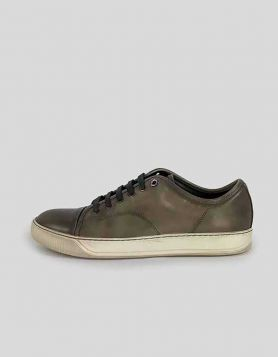 Lanvin men's grey/green distressed leather, lace-up sneakers with white rubber soles Size 9 US