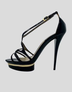 Le Silla black patent leather open-toe strappy pumps with platform