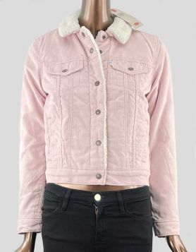 Levi's Original Trucker Jacket in pink corduroy, lined with soft sherpa fleece.  Snap front closure. Side pockets and snap front pockets. Size: X-Small