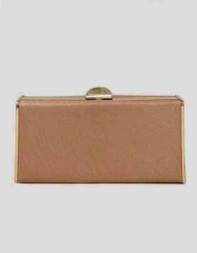 Pink Glitter box clutch with gold-tone trim throughout. Gold-tone push-lock.