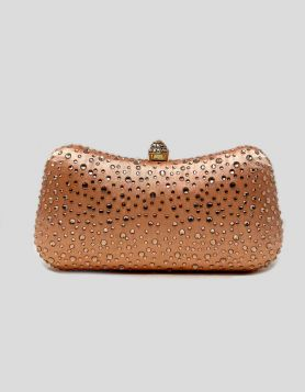 Light Pink Jewel Box evening clutch bag with crystal embellishments throughout