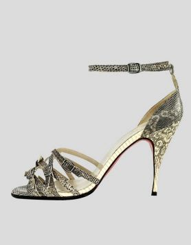 Christian Louboutin python open-toe sandal with multiple buckle design detail, ankle strap with buckle closure Size 39 IT