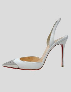 Christian Louboutin Calamijane Cap Toe Slingback Sandals in white with silver tip Size 40 IT