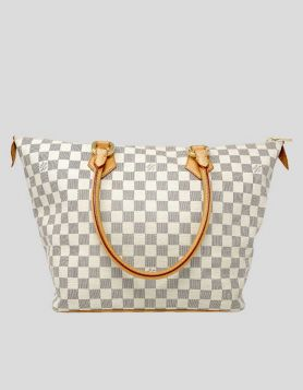 Louis Vuitton Cream and Navy Damier Azur Coated canvas Saleya MM with brass hardware