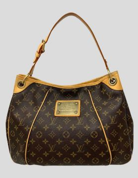 Louis Vuitton brown and tan monogram Gallieria PM shoulder bag with coated canvas and brass hardware
