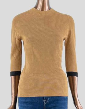 Louis Vuitton mock turtleneck sweater in tan with dark brown trim on arms