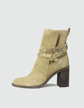 SeeByChloe Bootie Stack boot with wrap around matte silver hardware 40 IT