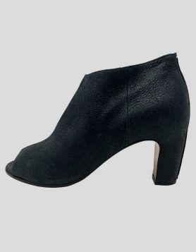 Maison Margiela black leather open-toe booties