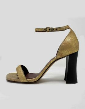 Marc Jacobs gold-tone sandals with black wooden block heels Size 39 IT