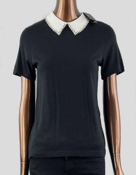 Maje Tivola Embellished Modal and Wool-Blend short sleeve jersey top in black and detachable crystal collar Size 1