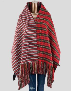 Maje wool wrap in red plaid with fringe
