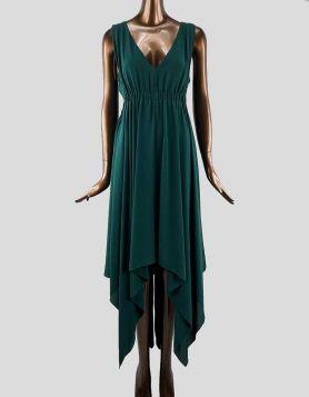 BCBG MaxAzria flowing handkerchief hemline dress in dark teal color - Medium