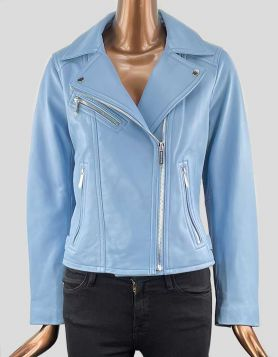 Michael Kors Leather Moto Jacket in light blue Size: Medium