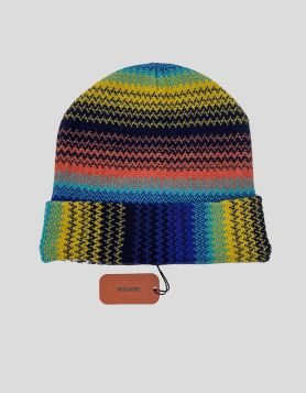 Missoni multi-color wool blend knit beanie with signature woven design. Featuring a fine knit and turn-up brim.