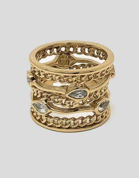 Melinda Maria Cigar Link Ring - Size 7