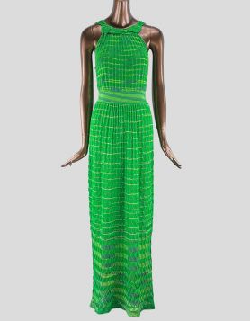 M Missoni Striped Evening Gown in green. Sleeveless with scoop neck. Size: Small