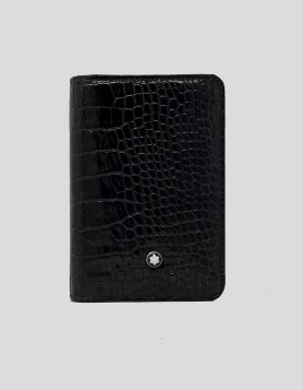 Montblanc men's Bifold Wallet in brown croc-embossed leather. Single exterior pocket. Dual Interior Pockets with card slots