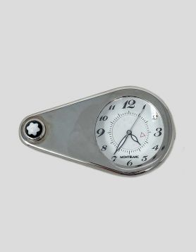 Authentic Montblanc travel alarm clock with magnifying glass attached in sterling silver.